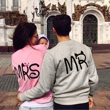 Blusas 2015 Autumn Casual Long Sleeve Mr Mrs Letter Print Pullover Hoodies Couples Lovers Sweatshirt For Men And Women Plus Size