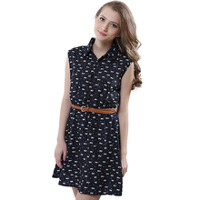 Summer Style 2016 New Women Shirts Dress Cat footprints Pattern Show Thin Shirt Dresses With Belt(China (Mainland))