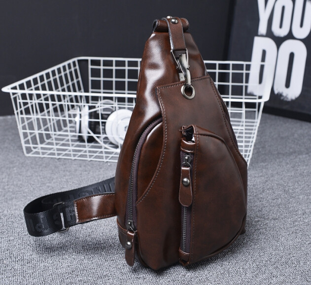 Hot new fashion leather men chest bags sports cross Body bags small travel Bags retro messenger bags mini chest pack Outdoor(China (Mainland))