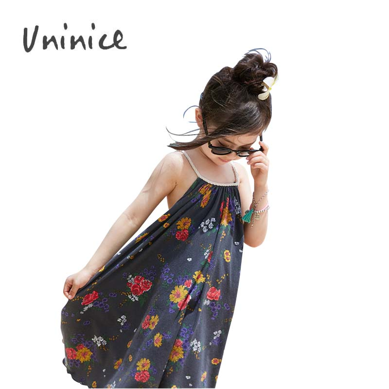 Summer Baby Girl Dress Sea Beach Bohemia Flower Printing Strap dress children girl Flower Print Vest dress sleeveless clothes<br><br>Aliexpress