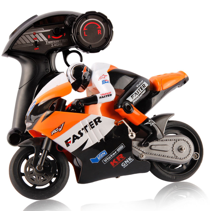 High Speed Electric Mini RC Motorcycle 1:16 Scale 2.4Ghz 4 Channels Remote Control Motos Built-In Gyroscope(China (Mainland))