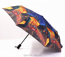 2015 Chinese Famous Brand Oil Painting Style Automatic 3 Fold Women Man Windproof Uv Protection Large Rain Umbrellas For Sale