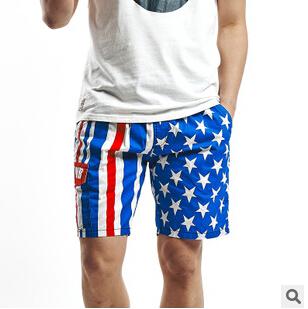 2015 New men quick dry cotton summer beach American flag print casual surf baggy cargo pantalones shorts board swim wear L-3XL - fashion live's store