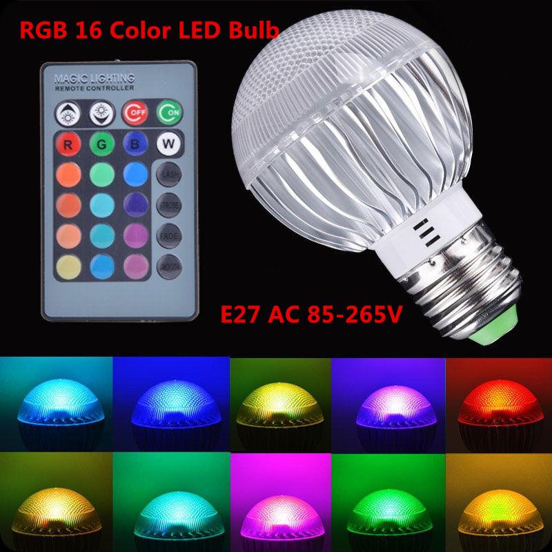 2015 New arrival LED RGB bulb E27 4W 15W AC 85-265V rgb led Lamp with Remote Control multiple colour led rgb lamp(China (Mainland))