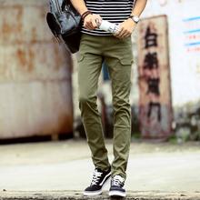 2015 New Autumn Men's Long Slim Elastic Casual Pants Men Flexiable Material Trousers Man Pencil Pants Size 36