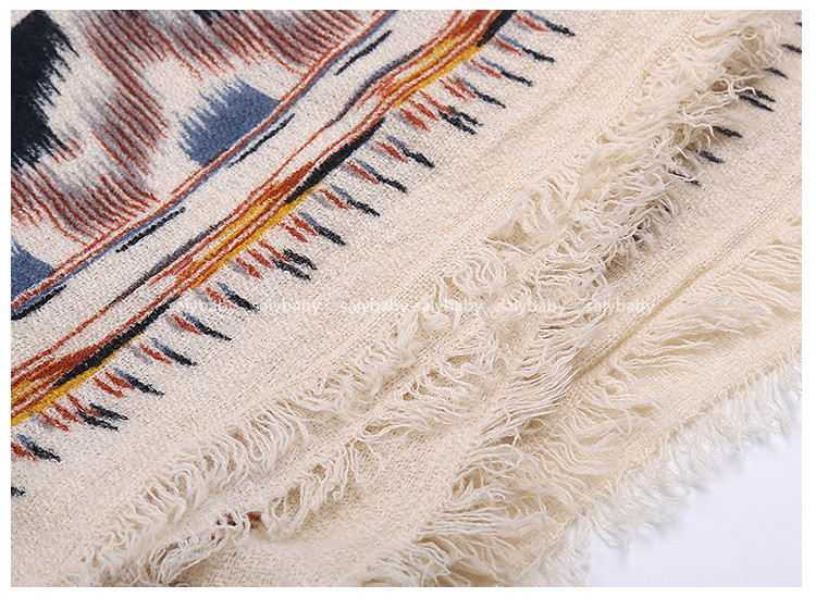 16 New Winter Hand-painted Cotton Cashmere Shawl Scarf With A Female Warm Air Conditioning Hot Sale