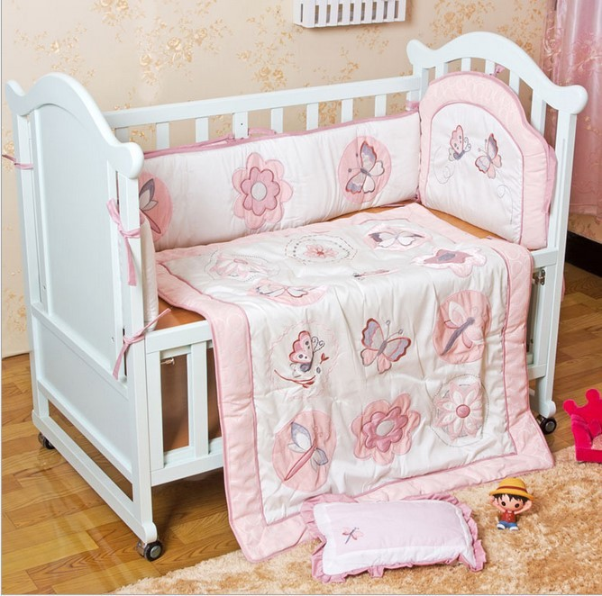 Promotion! 6pcs Embroidery Baby bed bumper Baby cot 100% cotton Cotton Newborn Crib Bedding ,include (4bumpers+duvet+pillow)<br><br>Aliexpress