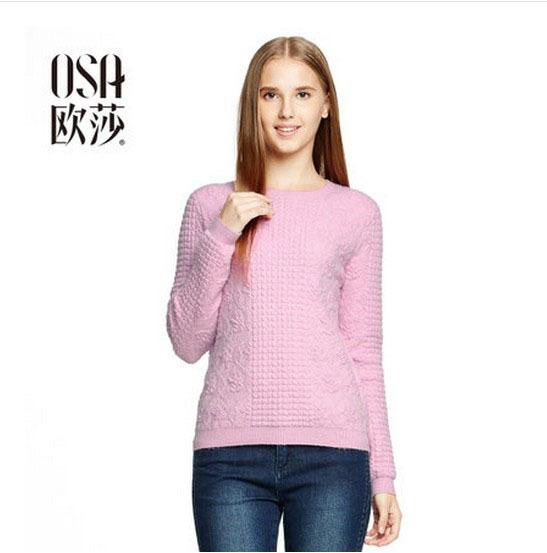 OSA 2014 New Autumn Women Texture Pullovers O-neck Long Sleeve Solid Color Casual Bottoming Woolen Sweaters SE401011(China (Mainland))