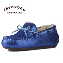 JSVOVUGG piel de vaca de las mujeres botas de nieve de invierno de piel de oveja de cuero zapatos de mujer(China (Mainland))