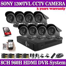 Hd 1200TVL 8CH полный 960 H установки системы видеонаблюдения 3 г wi-fi DVR комплект 8 * открытый пуля камеры системы видеонаблюдения с 1 ТБ HDD