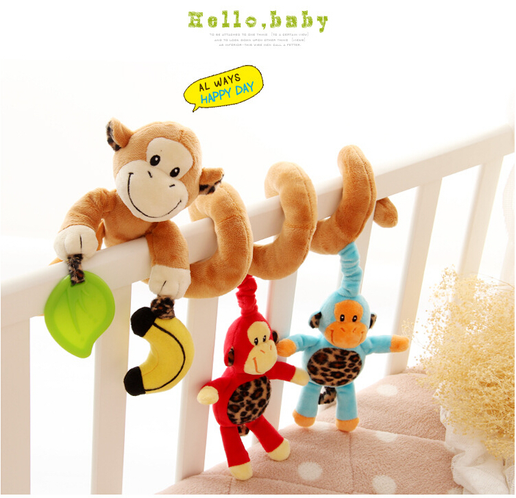 Free shipping Multifunctional Cute Monkey Baby Bed Hanging Baby Crib Mobile Rotating Music Baby Rattles For Kids CG-002(China (Mainland))