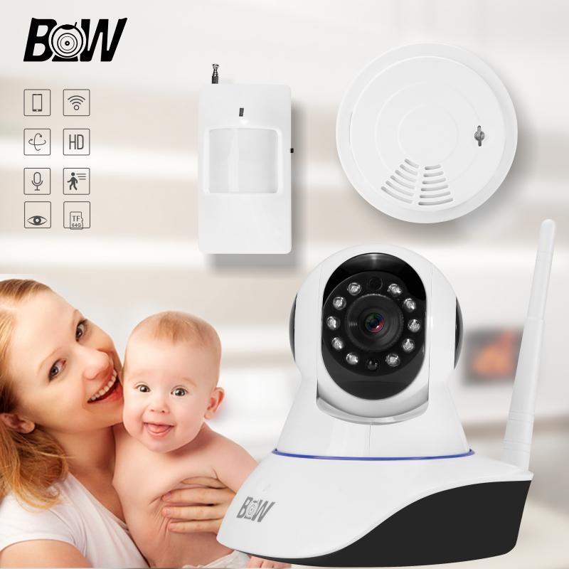 BW P/T HD 720P IR-Cut Night Surveillance Camera Video Audio IP P2P WiFi GSM Alarm + Motion Sensor + Smoke Detector Security CCTV(China (Mainland))