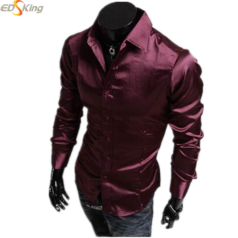 Men Slim Fit Fashion Dress Casual Social Shirt Long Sleeve Style Business Brand Imported Clothes Pattern Silk Camisas 2016(China (Mainland))