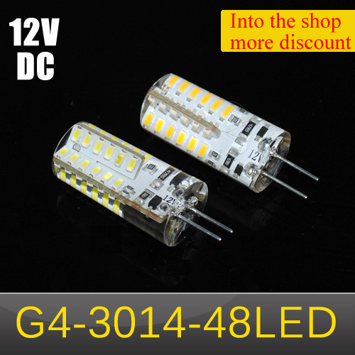 1pcs Silicone LED lamps 5W G4 3014 SMD 48LEDs Crystal Chandelier DC 12V LED bulb Non-polar Spot light(China (Mainland))
