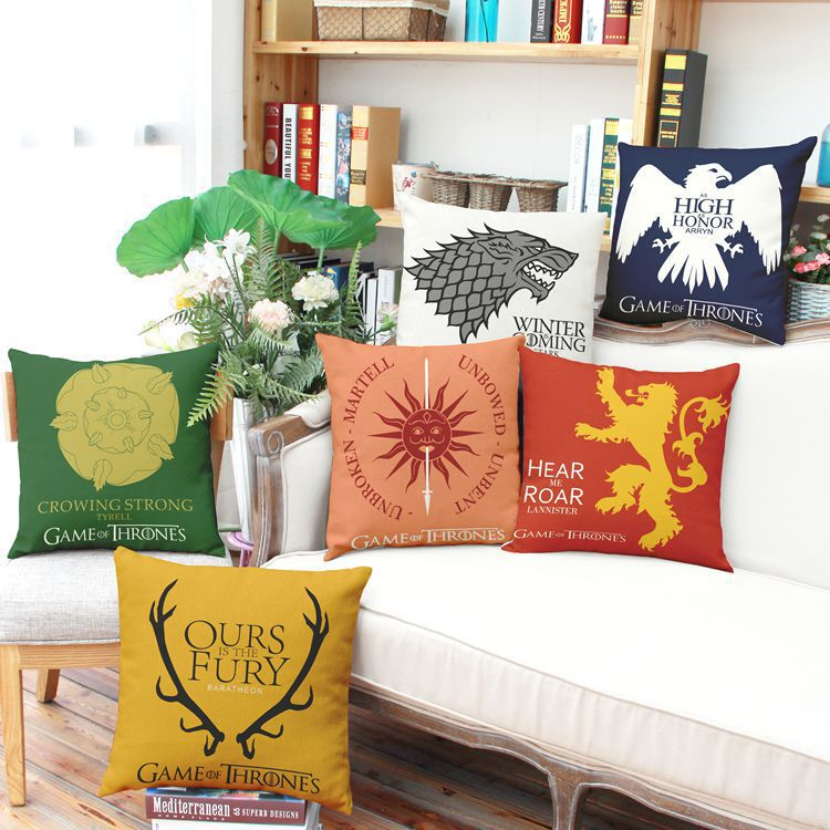 US drama Game of Thrones Cotton Linen car pillow cover cushion cover sofa backrest Decoration (excluding interior core)(China (Mainland))