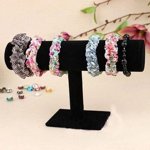 Black Velvet Bracelet Chain Watch T-Bar Rack Jewelry Hard Display Stand Holder free shipping(China (Mainland))