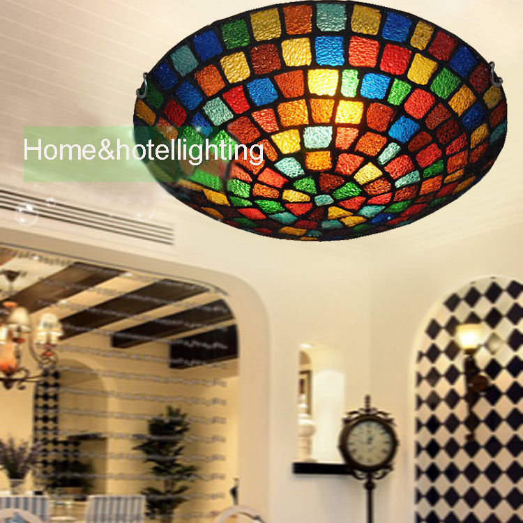 traditional ceiling lights Tiffany Style Stained Glass ceiling lamp in Floral Pattern Flush Mount with3 Lights in Round ceiling(China (Mainland))
