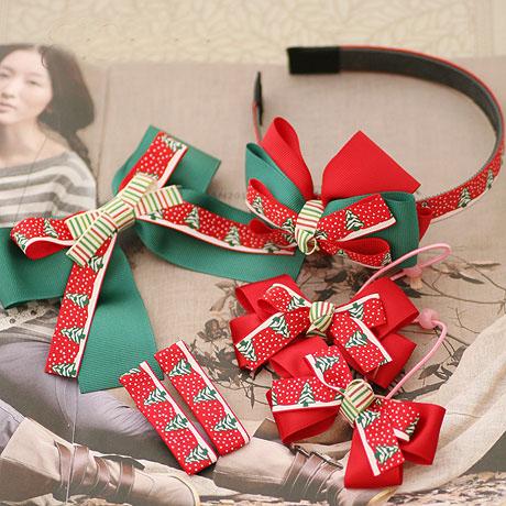 6pcs Christmas Tree Printing Ribbon Bow Elastic Hair Bands/Hair Clip/Headband For Girls Christmas Hair Accessories Free Shipping(China (Mainland))