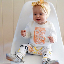 ST189 2016 New arrival girl & boys clothes set long sleeve+Pants owl pattern set of clothes newborn baby suit children clothing(China (Mainland))
