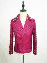 2016 New Fashion Male singer nightclub DJ GD Style Pink Rivet motocycle Leather jacket Party show dancer performance wear(China (Mainland))