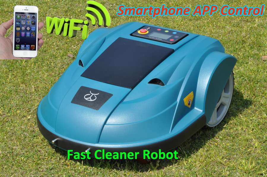 2016 Newest Cordless Lawn Mower Robot With Smartphone App WIFI Wireless Control,Water-proofed Charger,Range,subarea,Compass(China (Mainland))