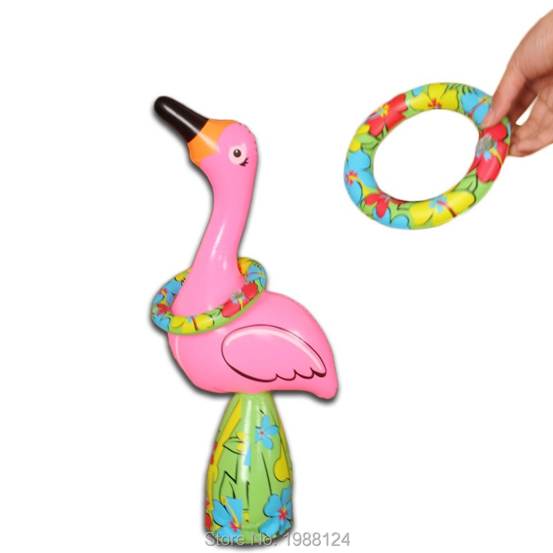 55cm/22inch Inflatable Flamingos Ring Throwing Toys Beach Game Water Fun Swimming Pool Party Beach Game Water Fun Free Shipping(China (Mainland))
