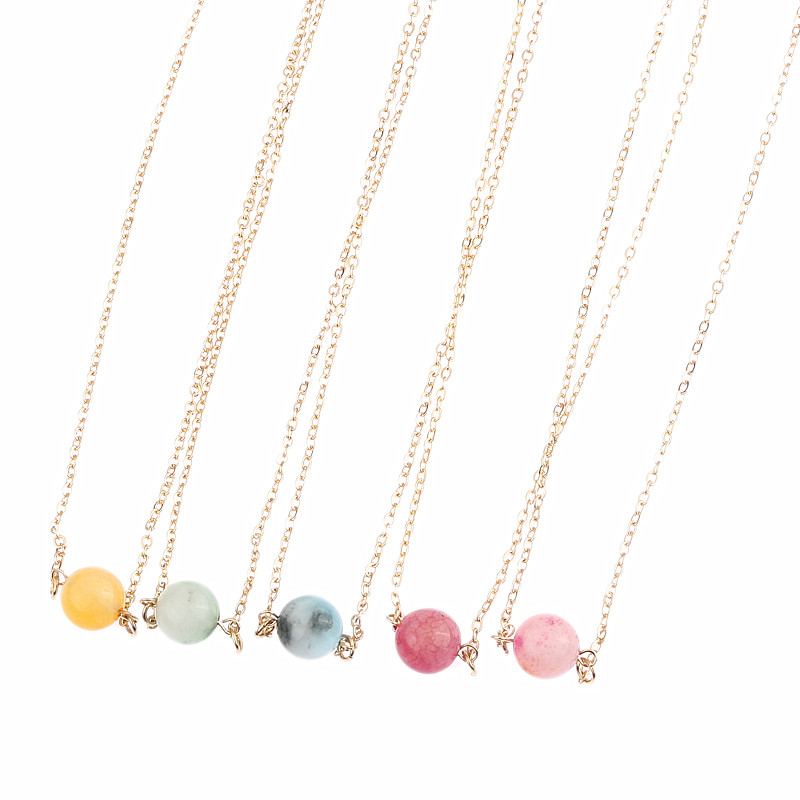 Fashion accessories synthetic stone circle crystal brief all-match short design necklace(China (Mainland))