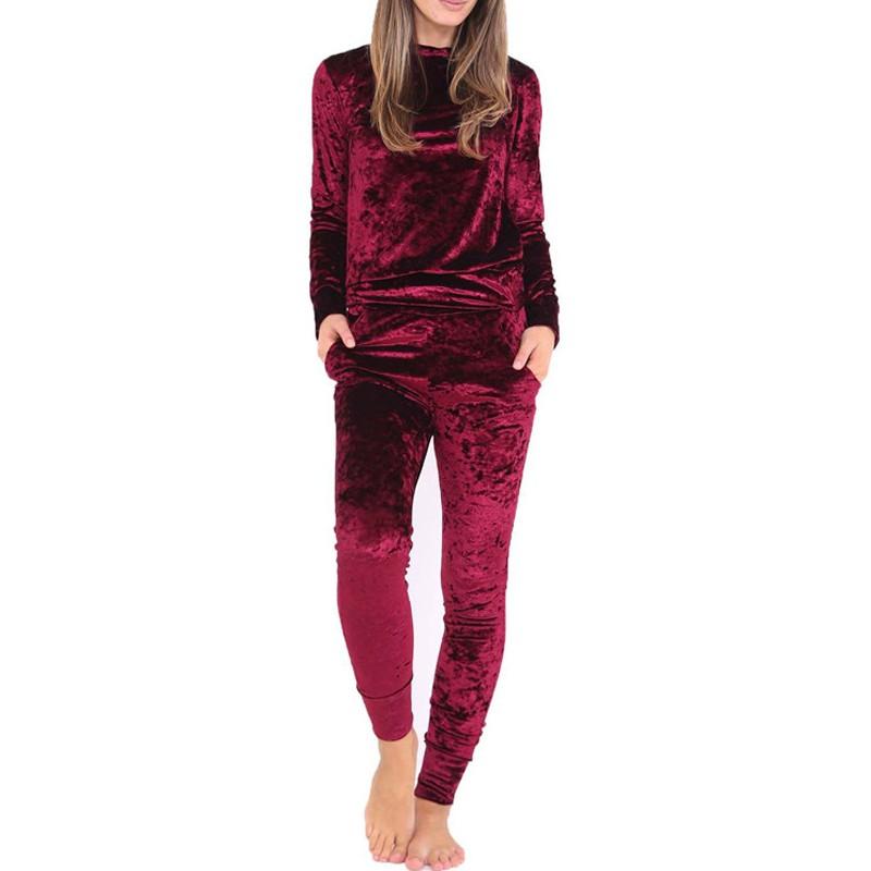 2017 New Fashion Velvet Tracksuit Shining Colors Sportwear Warm Winter Sweat Suits Women 2 Piece Set Pants Suit Hoodies Pullover(China (Mainland))