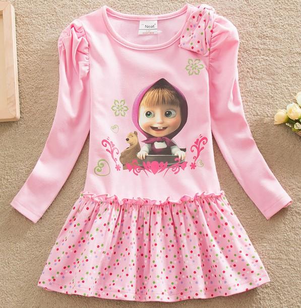 Girl tutu princess dress children spring clothing Long sleeve Cotton dress for girls kids cartoon Masha Bear Dot dress 2-6T D297<br><br>Aliexpress