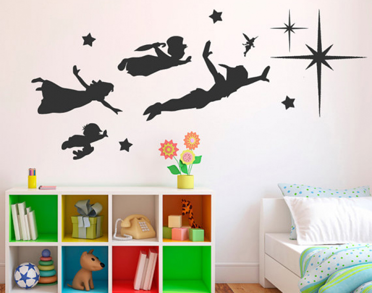 classic cartoon peter pan wall stickers vinyl wall decals baby wall stickers for kids rooms in. Black Bedroom Furniture Sets. Home Design Ideas