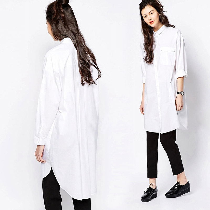 2016 New Arrive Spring Fashion Simple design Long White Shirts for Women Loose Style Boyfriend style