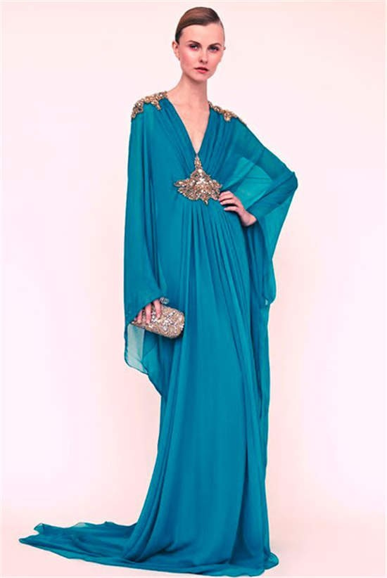 Best 2015 A-line Deep V-neck Long Sleeves Royal Blue Hijab Underscarf Dubai Moroccan Kaftan Muslim Evening Dress Prom Dress Gown(China (Mainland))