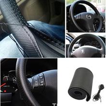 1PCDIY Car Steering Wheel Cover With Needles and Thread Artificial leather Gray/ Beige/ Black China Post Free Shipping