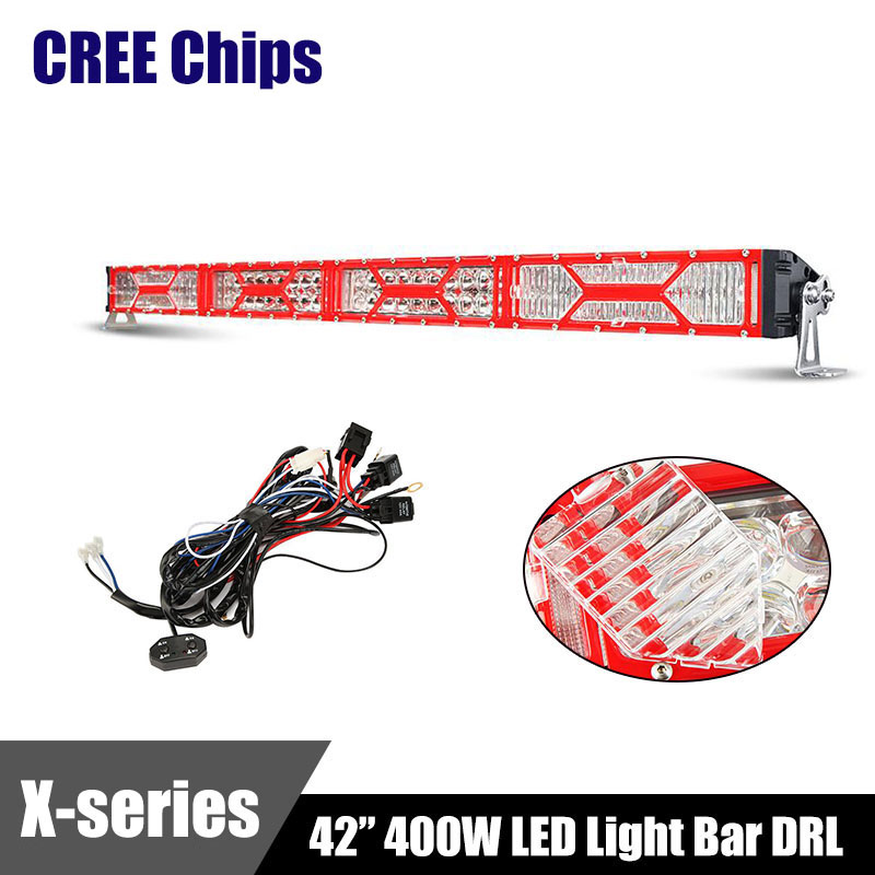 "Red X-series CREE Chips LED Light Bar DRL 42"" 400W Combo Beam Eagle Eye Dual Row Straight Work Light Bars Offroad 4x4 4WD 12V(China (Mainland))"
