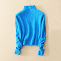 Free shipping long sleeve turtle neck close fitting solid color 100 cashmere thick warm pullover sweater