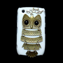Retro Bronze Owl Pendant Branch Leaves Skin Case, Free Shipping Fashion White Hard Back Cover For BlackBerry Curve 8520 9300(China (Mainland))
