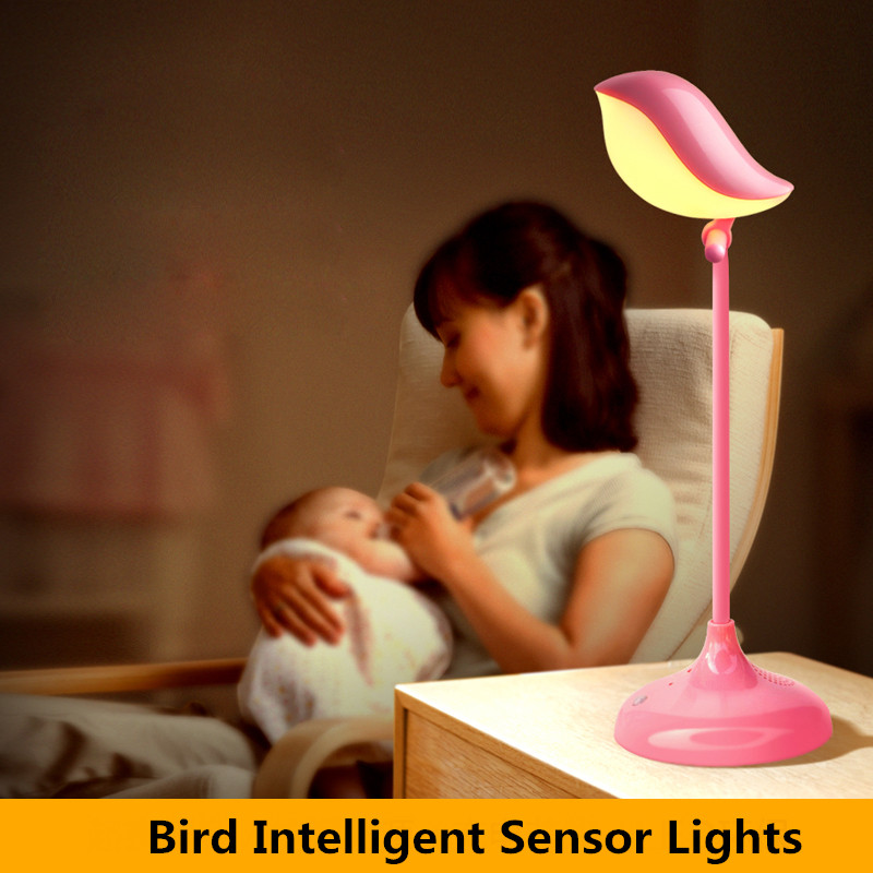 1pcs Cartoon Bird LED Intelligent Sensor Lights Touch Dimmer Eye Protection Reading Lamps Three Gear Bedside luminaria de mesa<br><br>Aliexpress