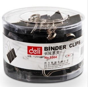 High quality DELI brand binder clips 8564 15mm 19mm 25mm 32mm 41mm 51mm (black) Free shipping(China (Mainland))