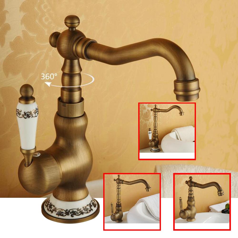 Pia do banheiro torneira de Bronze antigo 360 grau de torneira da bacia torneira única alça fria e água quente(China (Mainland))