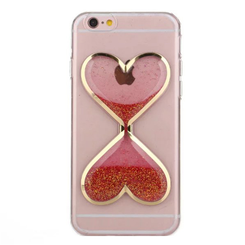 Luxury Liquid Quicksand Transparent Love Heart Hourglass case for iPhone 4 4s 5 5s 6 6s 6 plus 6s plus Protective tpu p20(China (Mainland))