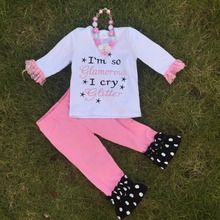 girls fall clothes I am so glamorous I cry glitter girls boutique outfits kids white Capri set  with necklace and headband(China (Mainland))