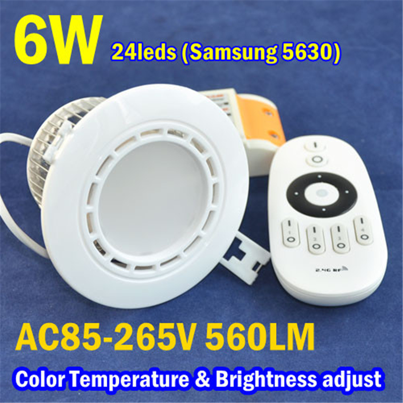 AC85-265V 6W 3000-6500K 560LM Samsung 24leds Color Temperature &amp; Brightness adjust LED Ceiling Downlight With Remote Controller<br><br>Aliexpress