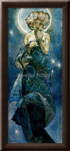 High quality,The Moon,Alphonse Mucha oil painting canvas,Hand-painted,Portrait Modern Art Reproduction,
