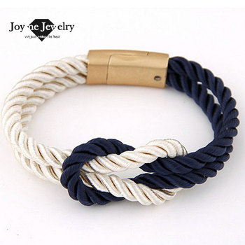 2015 Hot Trendy Fashion Braided Rope Chain with Magnetic Clasp Bow Charm Leather Bracelets & Bangles for Women Men Jewelry