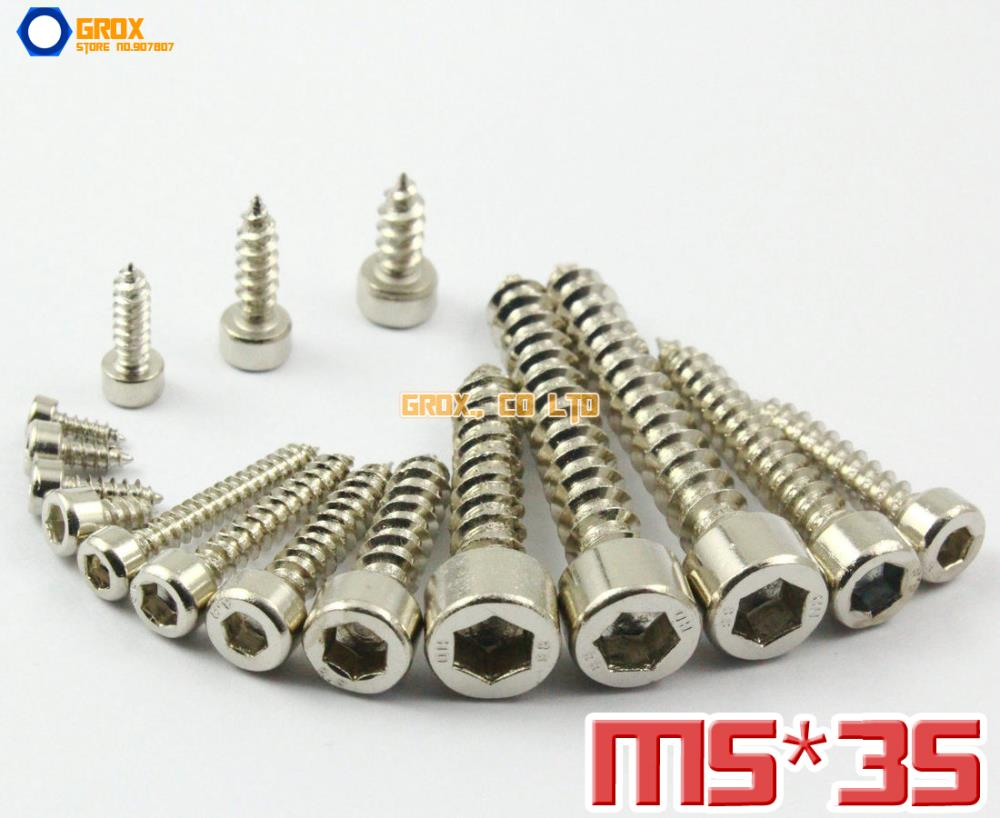 25 Pieces M5 x 35mm 8.8 Grade Alloy Steel Nickel Plated Hexagon Socket Cap Head Self Tapping Screw Model Screw<br><br>Aliexpress