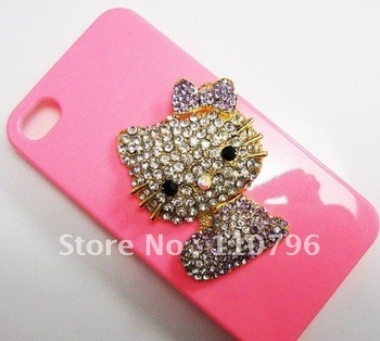 Free shipping 5pcs/lot Alloy Lovely Purple Holle Kitty Cat Diy Phone Accessories For Iphone 4 4s Decoration