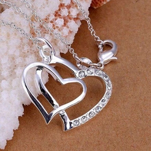 Buy silver plated fashion jewelry pendant Necklace, 925 jewelry silver plated necklace Inlay Double Heart Pendant necklace ghgd prcc for $1.47 in AliExpress store
