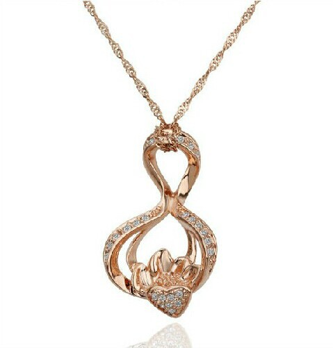 JS N230 Love And Fire Necklace Rose Gold Pendants Crystal And Rhinestone Jewelry Nickel Free Gold Filled Necklace(China (Mainland))