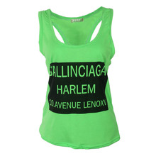 Women s tanks T shirts Sleeveless Sport Fitness Letter Print Loose Fitting Tops Tank Vest Cropped