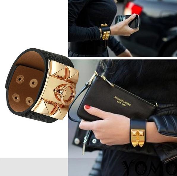 Free shipping~Fashion cool imitation leather wide bangle bracelet cuff .8 color select.